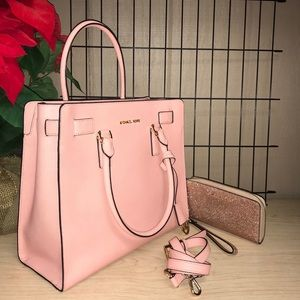 MICHAEL KORS LARGE DILLON PINK SET +wallet